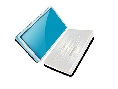 book logo: Laptop o notebook con el logo de libro