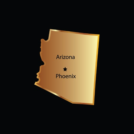 tucson: Gold arizona state map with capital name Illustration