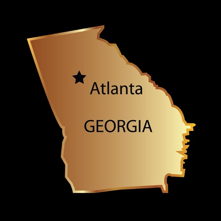 Gold georgia state map with capital name