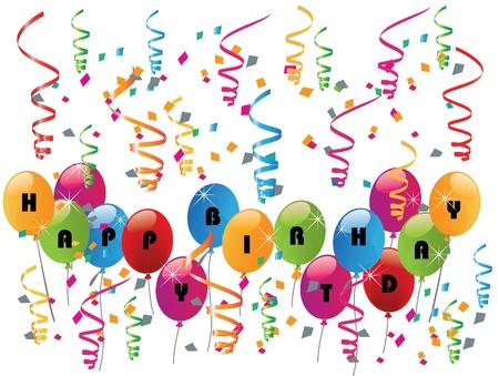 anniversary party: Festa di compleanno felice con palloncini Vettoriali