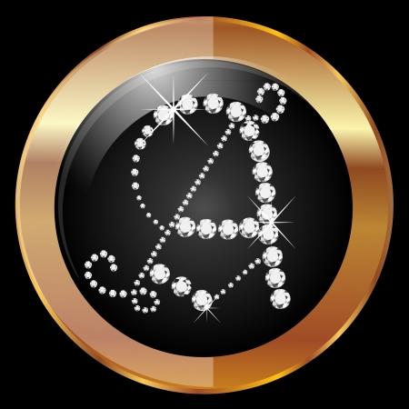 ダイヤモンドとゴールドのフレーム付き A の文字