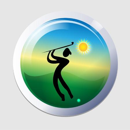 fairway: Golfer men icon vector