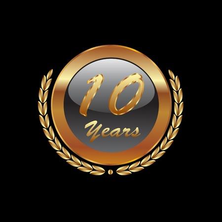 numero diez: Corona de laurel de oro 10 � a�o