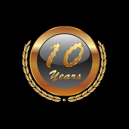 10 number: Golden laurel wreath 10th years