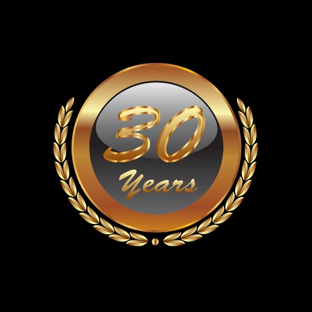 Golden laurel wreath 30th years Vector