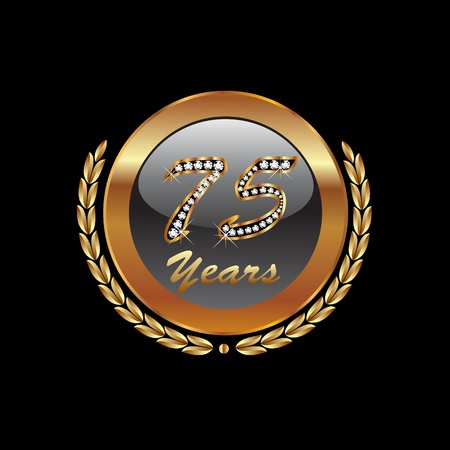 Golden laurel wreath 75th years Vector