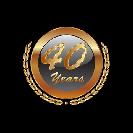 金月桂樹の花輪 40 周年記念  イラスト・ベクター素材