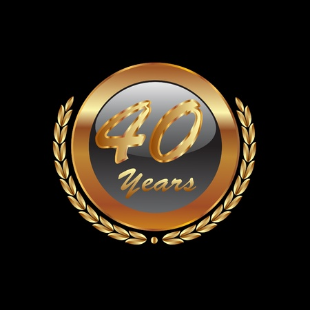 Gold laurel wreath 40th anniversary Vector