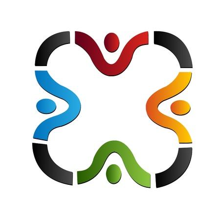 Teamwork Menschen Logo Standard-Bild - 11195648