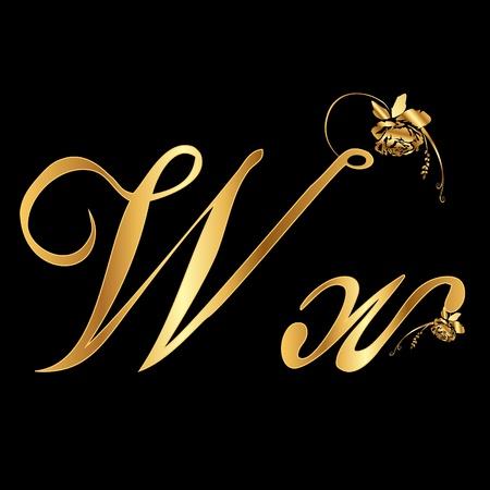 Golden vector letter W met rozen (incasso) Stock Illustratie