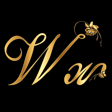 letter w: Golden vector letter W with roses (collection)