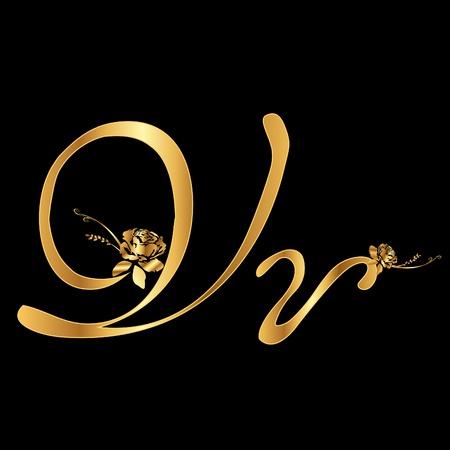 黄金のベクトル文字 V バラ (コレクション)