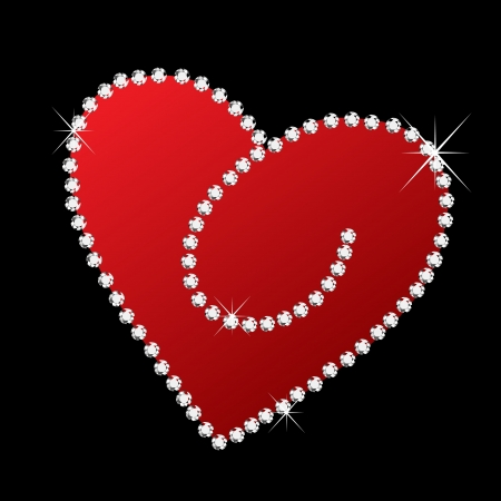 Heart with diamonds bling bling  Vector