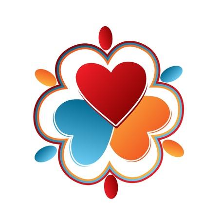 naciones unidas: Corazones logo Vectores