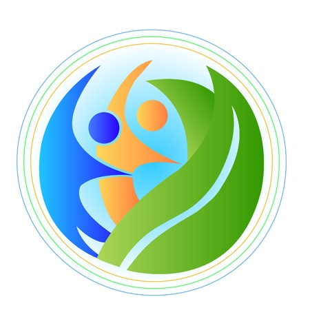 yoga class: People in harmony with the nature earth logo