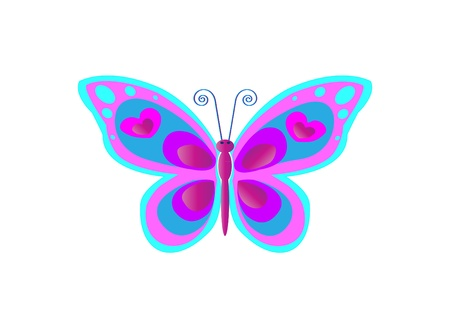 swallowtail butterfly: Butterfly with spots in blue and pink colors
