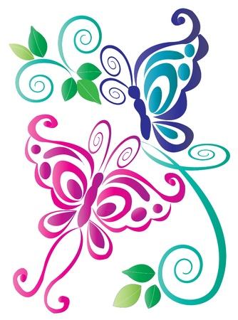 esquineros de flores: Mariposas de color rosa y azul con adornos Vectores