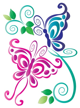 tekening vlinder: Vlinders roze en blauw met ornamenten Stock Illustratie