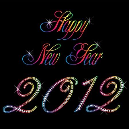 joyas de oro: 2012 año nuevo feliz Vectores