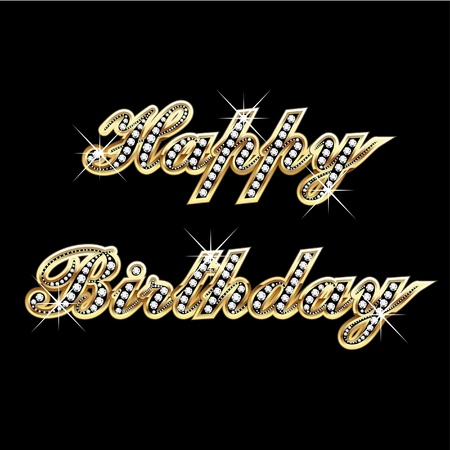 birthday decoration: Happy birthday in gold with diamonds and bling bling Illustration