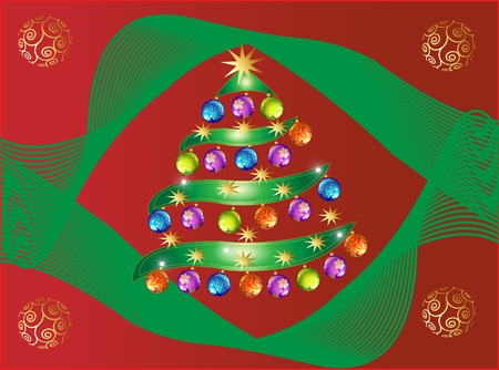 Christmas tree red card Vector