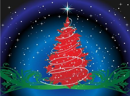星とのクリスマス ツリー  イラスト・ベクター素材