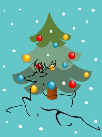 Christmas tree and deer Vector