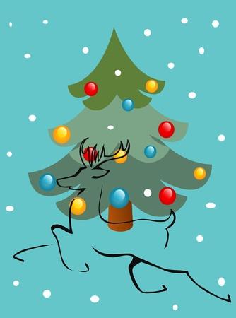 Christmas tree and deer Stock Vector - 11295386