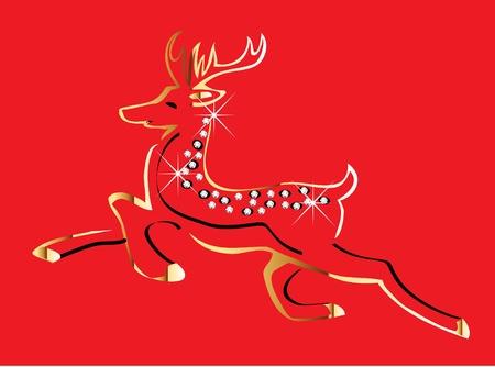クリスマス トナカイ ゴールド  イラスト・ベクター素材