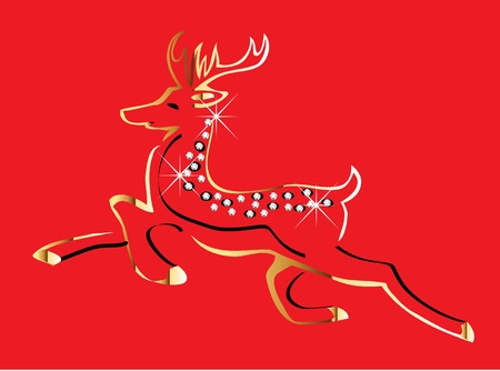 Christmas reindeer gold Vector