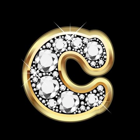 pandilleros: C de oro y diamantes bling Vectores
