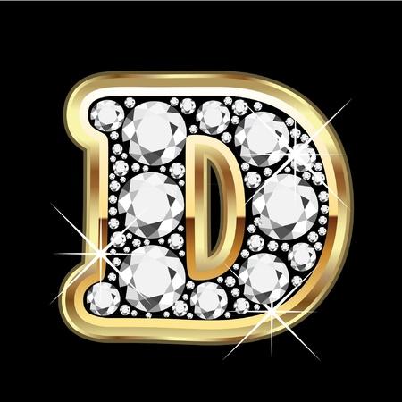 letras doradas: D de oro con diamantes Bling