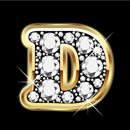 D gold with diamonds bling  Vector
