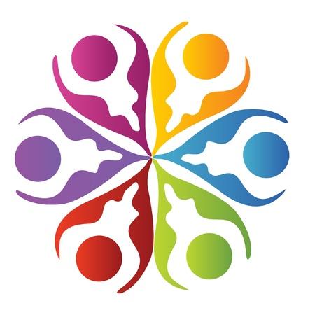 multicultural group: Teamwork logo