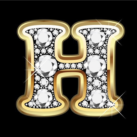 H gold with diamonds bling Vector