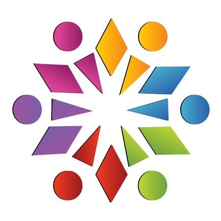 cultural diversity: Equipo social logotipo abstracto Vectores