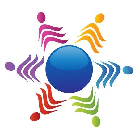 Equipo alrededor del logo de mundo