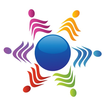 multicultural group: Team around of world logo Illustration