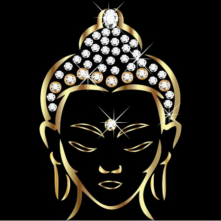 meditation stones: Gold buddha status Illustration