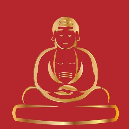 buda: Bouddha avec fond rouge Illustration