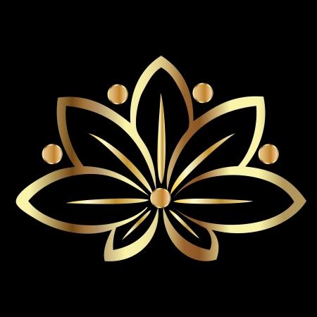 flor loto: Oro flor de loto