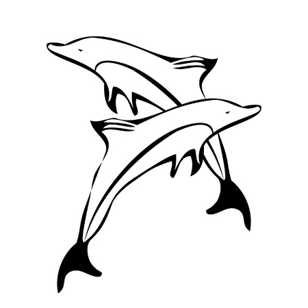 Dolphins jumping happy game Vector