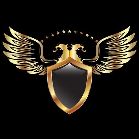 방패: 독수리 방패와 날개 일러스트