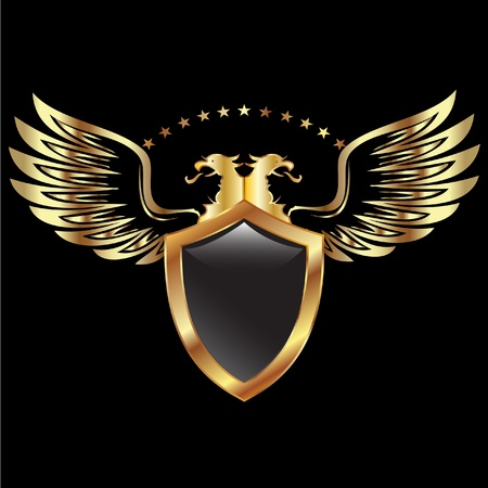 aguila real: Águila escudo y alas Vectores