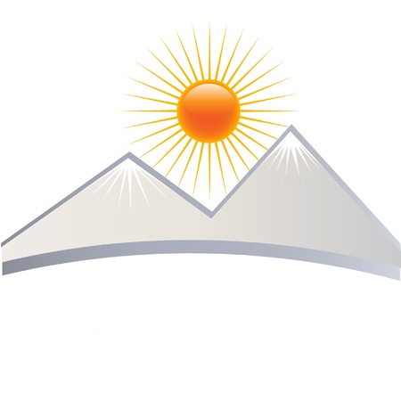 sun rising: Ice mountains logo