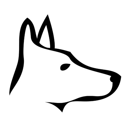 in the dog house: Doberman dog logo