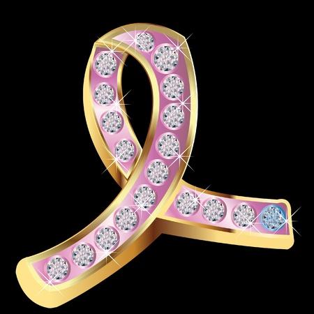 男性乳がんの石青と乳がん啓発ピンク リボン  イラスト・ベクター素材