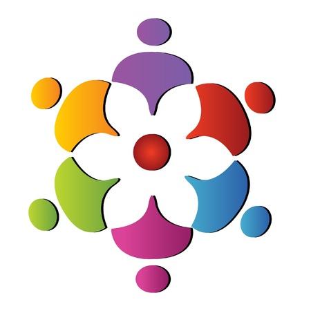 naciones unidas: Apoyar el trabajo en equipo de flores logo Vectores