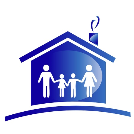 my home: Family and house icon logo