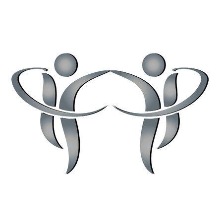 business people shaking hands: Men in business partners logo